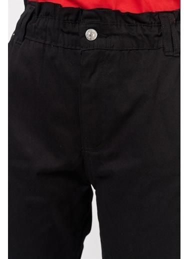 Levure Bel Büzgülü Havuç  Kesim Pantolon Siyah